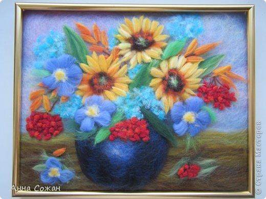 Картина, панно, рисунок Валяние (фильцевание), Рисование и живопись: Встретились Осень и Лето в одном букете! Шерсть. Фото 4