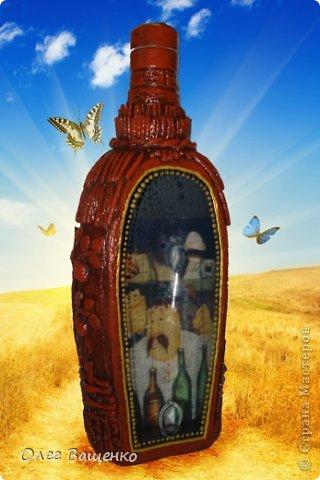 """Декор предметов, Мастер-класс Аппликация из скрученных жгутиков, Декупаж, Папье-маше: Бутылка """"Украинская хата""""-2 Бумага, Бутылки стеклянные, Краска. Фото 1"""