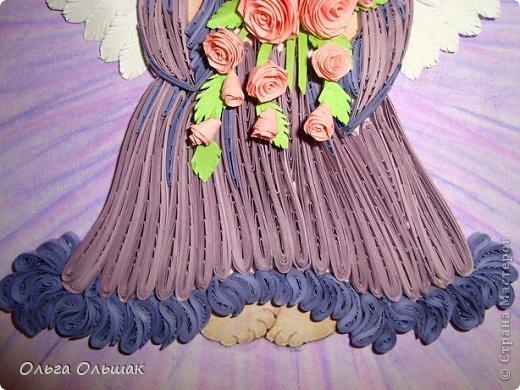 Картина, панно, рисунок Квиллинг: Ангелочки. Бумажные полосы День рождения, Пасха. Фото 3