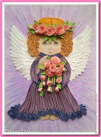 Картина, панно, рисунок Квиллинг: Ангелочки. Бумажные полосы День рождения, Пасха. Фото 2