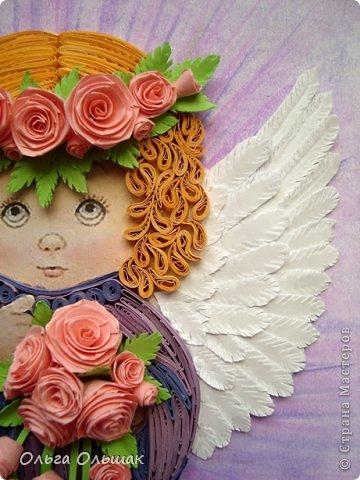 Картина, панно, рисунок Квиллинг: Ангелочки. Бумажные полосы День рождения, Пасха. Фото 4