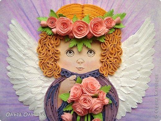 Картина, панно, рисунок Квиллинг: Ангелочки. Бумажные полосы День рождения, Пасха. Фото 5
