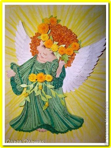 Картина, панно, рисунок Квиллинг: Ангелочки. Бумажные полосы День рождения, Пасха. Фото 6