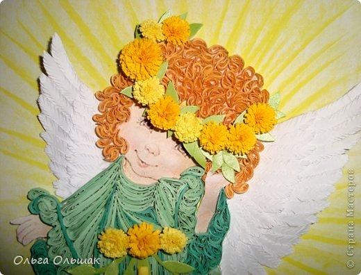 Картина, панно, рисунок Квиллинг: Ангелочки. Бумажные полосы День рождения, Пасха. Фото 7