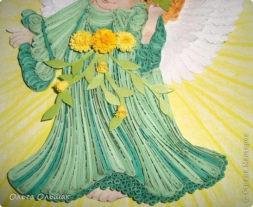 Картина, панно, рисунок Квиллинг: Ангелочки. Бумажные полосы День рождения, Пасха. Фото 8