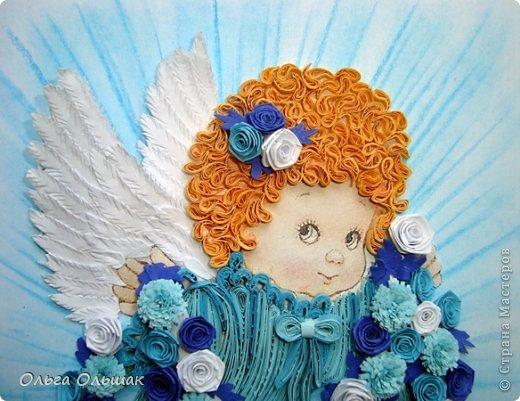 Картина, панно, рисунок Квиллинг: Ангелочки. Бумажные полосы День рождения, Пасха. Фото 10