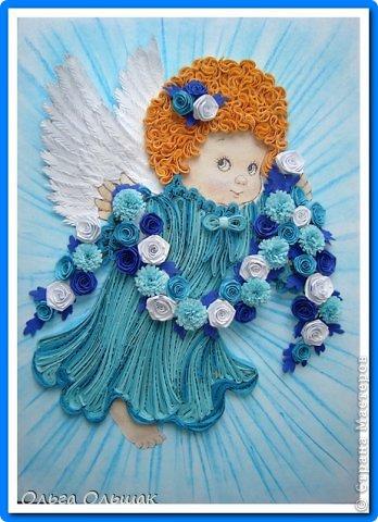 Картина, панно, рисунок Квиллинг: Ангелочки. Бумажные полосы День рождения, Пасха. Фото 9