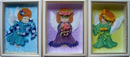 Картина, панно, рисунок Квиллинг: Ангелочки. Бумажные полосы День рождения, Пасха. Фото 12