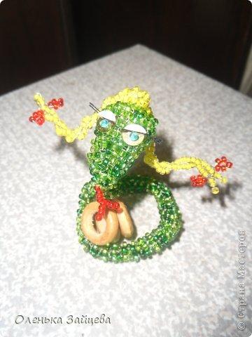 Мастер-класс Бисероплетение: МК змея из бисера Бисер, Бусинки, Пайетки Новый год. Фото 14