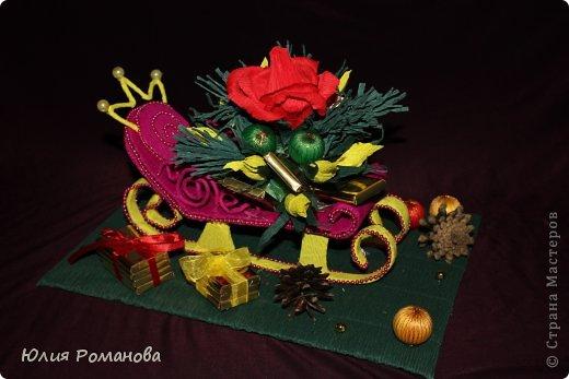 Мастер-класс Бумагопластика: Конфетные санки + МК Бумага гофрированная Новый год. Фото 1