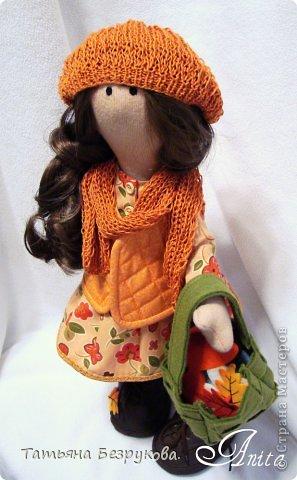 Куклы Шитьё: Девочка с грибами.  Ткань. Фото 7