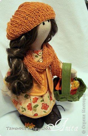 Куклы Шитьё: Девочка с грибами.  Ткань. Фото 9