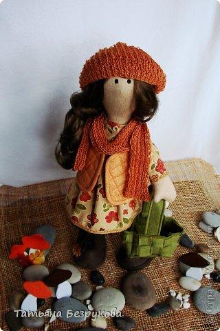 Куклы Шитьё: Девочка с грибами.  Ткань. Фото 1