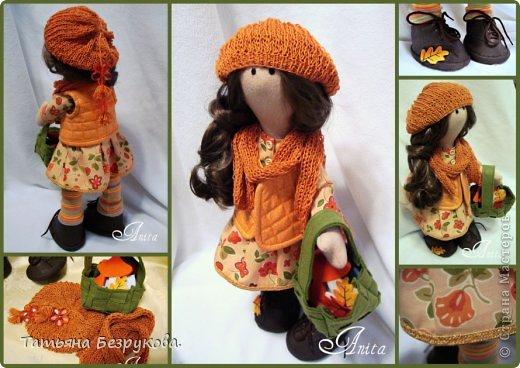 Куклы Шитьё: Девочка с грибами.  Ткань. Фото 11