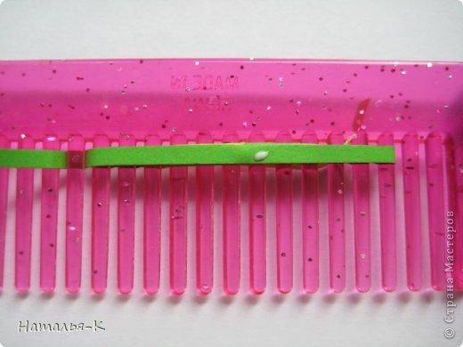 Мастер-класс Квиллинг: Листочки и цветочки на расчёске. Бумажные полосы. Фото 5