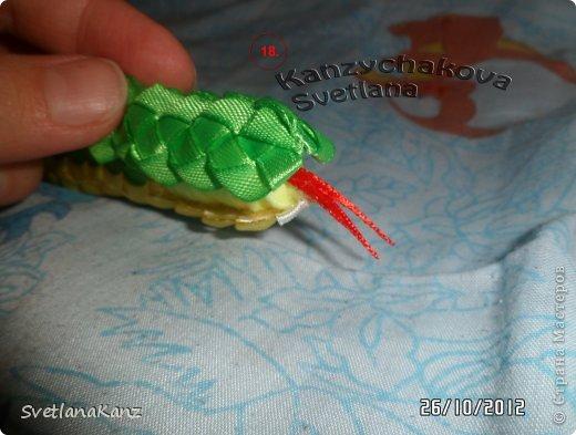 Мастер-класс Цумами Канзаши: МК Змейки моя личная идея Ленты Новый год. Фото 13