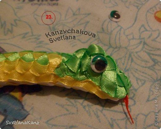 Мастер-класс Цумами Канзаши: МК Змейки моя личная идея Ленты Новый год. Фото 17