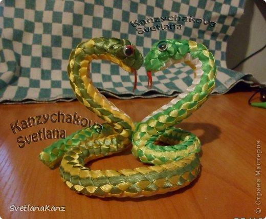Мастер-класс Цумами Канзаши: МК Змейки моя личная идея Ленты Новый год. Фото 1