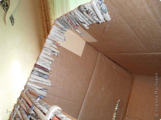 Мастер-класс Плетение: Домик для кошки Бумага газетная, Коробки, Ткань. Фото 3