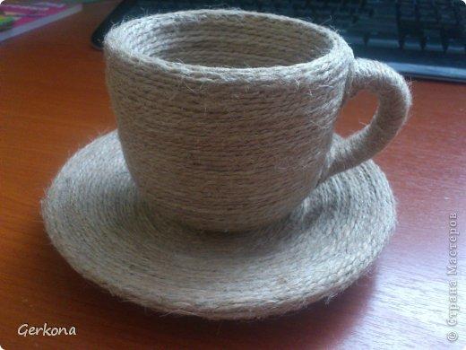 Декор предметов Моделирование: Моя чашка перевертыш))) Как я ее делала Кофе, Шпагат. Фото 3