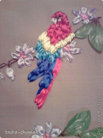"""Картина, панно, рисунок Вышивка: Вышивка лентами.  """"Попугашка...."""" Ленты. Фото 1"""
