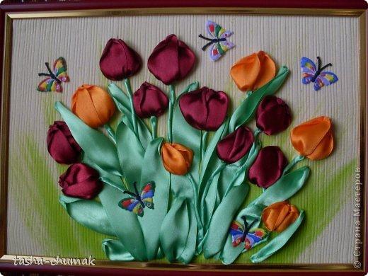 Картина, панно, рисунок Вышивка: Вышивка лентами Тюлюпашки-милашки Ленты День матери. Фото 1