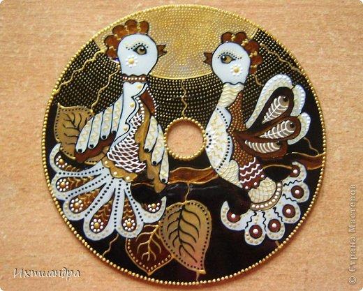 Картина, панно, рисунок Роспись: Диковинные птицы Диски компьютерные, Краска. Фото 13