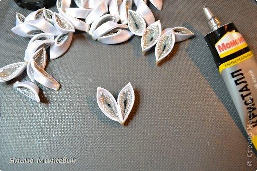 Мастер-класс, Украшение Цумами Канзаши: Ободок-корона Ленты Новый год. Фото 7