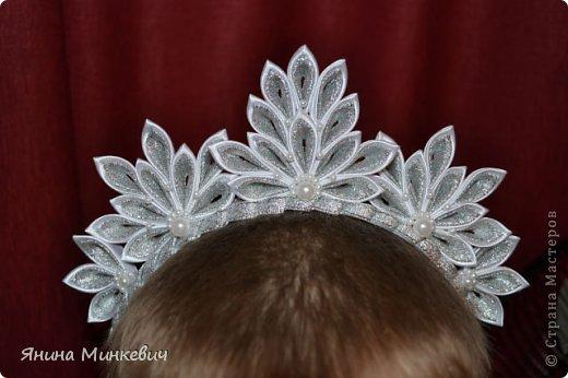 Мастер-класс, Украшение Цумами Канзаши: Ободок-корона Ленты Новый год. Фото 19