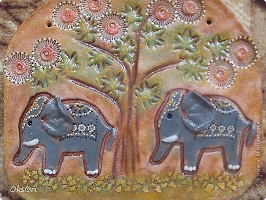 Картина, панно, рисунок, Мастер-класс Лепка: Индийские слоны + мини МК Тесто соленое Отдых. Фото 1