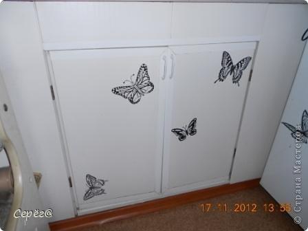 Декор предметов, Мастер-класс Орнамент: Бабочки на холодильнике Бумага, Клеёнка. Фото 2