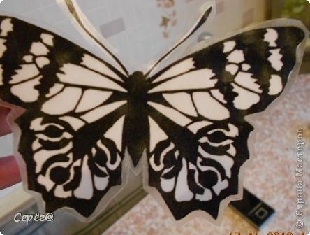Декор предметов, Мастер-класс Орнамент: Бабочки на холодильнике Бумага, Клеёнка. Фото 8