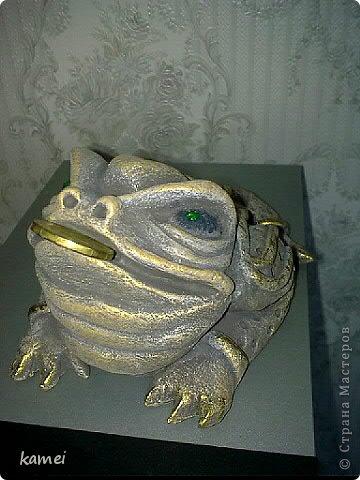 Скульптура Лепка: трехлапые денежные жабы феншуй  Краска, Тесто соленое. Фото 1