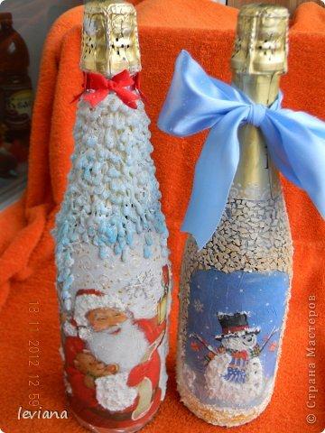 Декор предметов, Мастер-класс Декупаж: новогодний декупаж бутылок Бутылки стеклянные Новый год. Фото 1