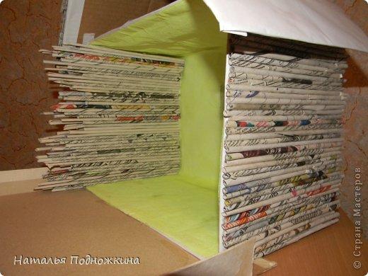 """Мастер-класс Макет: Макет. """"Сельский дворик"""" Бумага газетная, Клей, Коробки, Материал природный. Фото 3"""