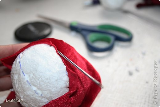 Декор предметов, Мастер-класс Пэчворк: елочные шарики МК Новый год. Фото 12