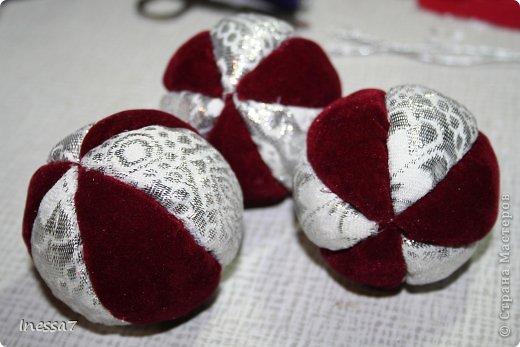 Декор предметов, Мастер-класс Пэчворк: елочные шарики МК Новый год. Фото 15