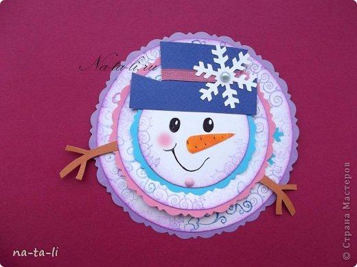 Мастер-класс, Скрапбукинг Ассамбляж: Снеговичок открытка. Делаем с детьми и не только :-) Бумага Новый год, Рождество. Фото 1