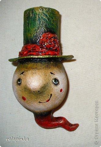 Игрушка, Интерьер, Куклы Папье-маше: змеиный головастик (что-то вроде м-к) Бумага, Краска Новый год. Фото 1