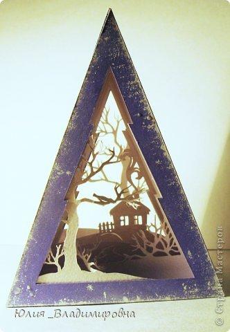 Мастер-класс, Поделка, изделие Бумажный туннель, Вырезание силуэтное: Туннель- ёлочка Бумага Новый год. Фото 2
