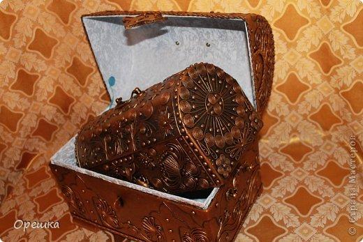 Поделка, изделие Аппликация из скрученных жгутиков: Пейп- арт сундук. Попытка первого МК. ))) Салфетки Отдых. Фото 23