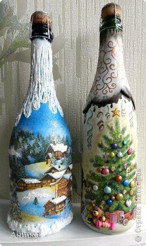 Декор предметов, Стенгазета Декупаж, Лепка, Рисование и живопись: Праздник к нам приходит... Бутылки стеклянные Новый год. Фото 1