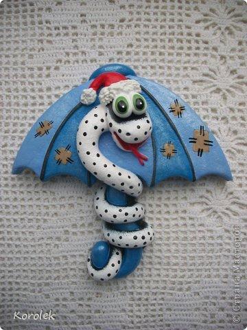 Мастер-класс, Поделка, изделие Лепка: Сувенирчики к новому году,змейки на зонтах. Тесто соленое Новый год. Фото 9