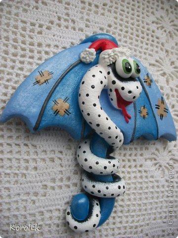 Мастер-класс, Поделка, изделие Лепка: Сувенирчики к новому году,змейки на зонтах. Тесто соленое Новый год. Фото 10