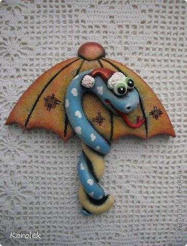 Мастер-класс, Поделка, изделие Лепка: Сувенирчики к новому году,змейки на зонтах. Тесто соленое Новый год. Фото 18