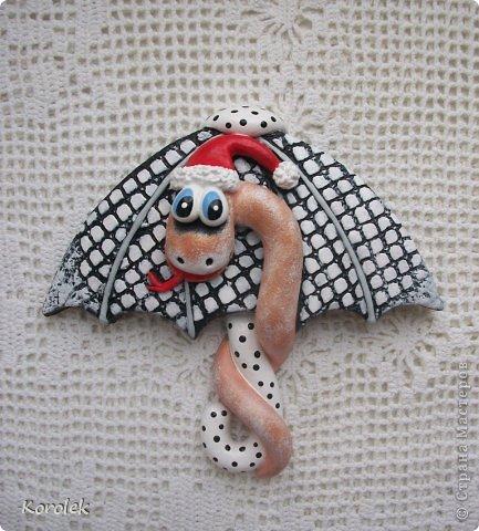 Мастер-класс, Поделка, изделие Лепка: Сувенирчики к новому году,змейки на зонтах. Тесто соленое Новый год. Фото 13