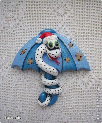 Мастер-класс, Поделка, изделие Лепка: Сувенирчики к новому году,змейки на зонтах. Тесто соленое Новый год. Фото 8