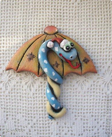 Мастер-класс, Поделка, изделие Лепка: Сувенирчики к новому году,змейки на зонтах. Тесто соленое Новый год. Фото 19