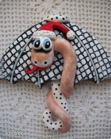 Мастер-класс, Поделка, изделие Лепка: Сувенирчики к новому году,змейки на зонтах. Тесто соленое Новый год. Фото 14