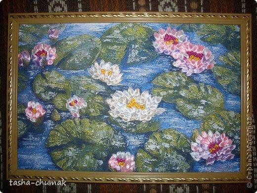"""Картина, панно, рисунок Вышивка: Вышивка лентами. """"...Там лилии цветут...."""" Ленты. Фото 1"""